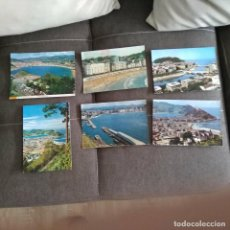 Postales: LOTE 6 POSTALES SAN SEBASTIAN CIRCULOADAS CON SELLO DE FRANCO AÑOS 60-70. Lote 279376018