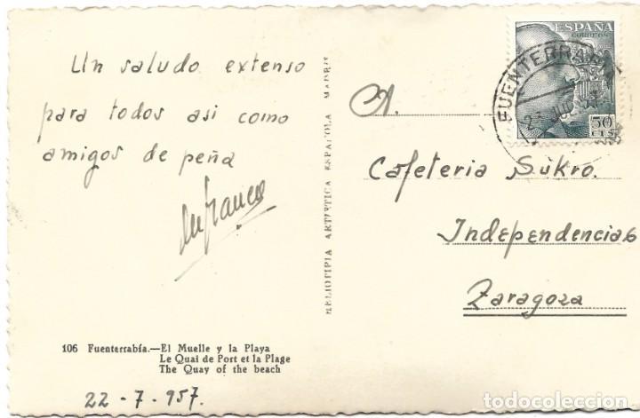 Postales: 106. FUENTERRABÍA - EL MUELLE Y LA PLAYA - HELIOTIPIA ARTÍSTICA ESPAÑOLA - Foto 2 - 283785983