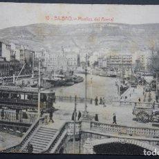 Cartoline: BILBAO, MUELLES DEL ARENAL, POSTAL CIRCULADA CON SELLO DEL AÑO 1917. Lote 285043818