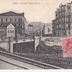 Cartoline: IRUN, ENTRADA PASEO COLON. ED. E.J.G. PARIS IRUN. CIRCULADA EN 1910. Lote 286877828