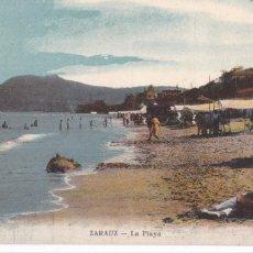 Cartoline: ZARAUZ, LA PLAYA. NO CONSTA EDITOR. BYN COLOREADA. CIRCULADA EN 1912. Lote 286878508
