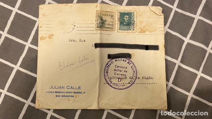 SOBRE CENSURA MILITAR DE GUIPÚZCOA POR DETRÁS SELLÓ SIN MATASELLOS (Postales - España - Pais Vasco Antigua (hasta 1939))