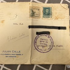 Postales: SOBRE CENSURA MILITAR DE GUIPÚZCOA POR DETRÁS SELLÓ SIN MATASELLOS. Lote 287792933