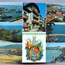 Postales: POSTAL FUENTERRABÍA 7 VISTAS CABO HIGUER LONJA PUERTO ESPIGÓN PLAYA MANIPEL 1969 CIRCULADA SELLO. Lote 287896903