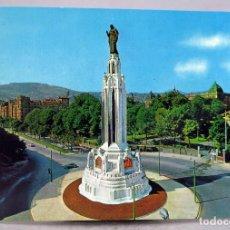 Postales: POSTAL BILBAO PLAZA Y MONUMENTO SAGRADO CORAZÓN BEASCOA SAN CAYETANO AÑOS 60 SIN CIRCULAR. Lote 287902353