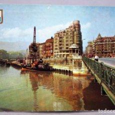 Postales: POSTAL BILBAO MUELLE RIPA PUENTE DEL GENERAL MOLA DOMÍNGUEZ FISA ESCUDO ORO 1962 CIRCULAD SELLO 1963. Lote 287903403