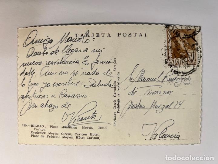 Postales: BILBAO. Postal No.135, Plaza Federico Moyua. Hotel Carlton. Edic. Garcia Garrabella (h.1950?) - Foto 2 - 293528758