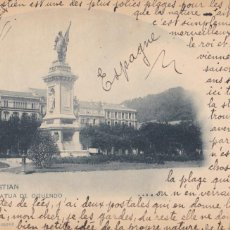 Postales: SAN SEBASTIAN, ESTATUA DE OQUEND. ED. HAUSER Y MENET Nº 359. REVERSO SIN DIVIDIR. ESCRITA EN 1899. Lote 294438843