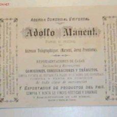 Postales: TARJETA ANTIGUA DE PUBLICIDAD DEL AGENTE COMERCIAL UNIVERSAL ADOLFO MANENT.JEREZ DE LA FRONTERA. Lote 24828457