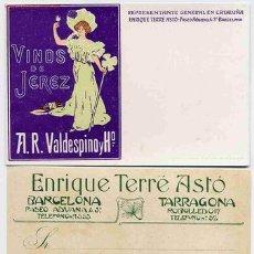Postales: POSTAL 4 PUBLICIDAD VINOS DE JEREZ BARCELONA TARRAGONA. Lote 15164643