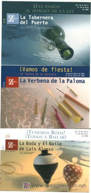 3 POSTALES PUBLICITARIAS DE ZARZUELA (Postales - Postales Temáticas - Publicitarias)