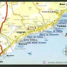 Postales: POSTALES TURÍSTICAS FIRESTONE *MAPA TURÍSTICO COSTA BRAVA: LLORET - TOSSA DE MAR* REF. A-53. NUEVA.. Lote 5191741