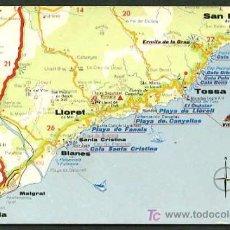 Postales: POSTALES TURÍSTICAS FIRESTONE *MAPA TURÍSTICO COSTA BRAVA: LLORET - TOSSA DE MAR* REF. A-53. NUEVA.. Lote 5191748