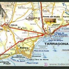 Postales: POSTALES TURÍSTICAS FIRESTONE *MAPA TURÍSTICO COSTA BRAVA: TARRAGONA - SALOU* REF. A-52. NUEVA.. Lote 5191753