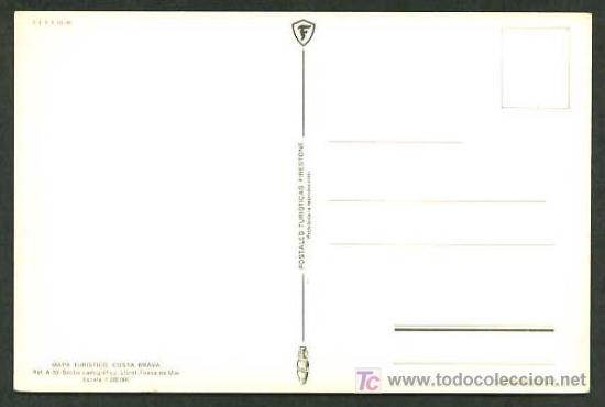 Postales: Postales Turísticas Firestone *Mapa Turístico Costa Brava: Lloret - Tossa de Mar* Ref. A-53. Nueva. - Foto 2 - 5191741