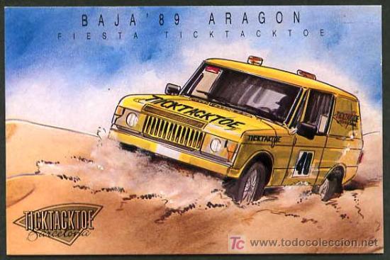 BARCELONA *FIESTA TICKTACKTOE, JULIO 1989 - BAJA´89 ARAGÓN* CIRCULADA. VER DORSO. (Postales - Postales Temáticas - Publicitarias)
