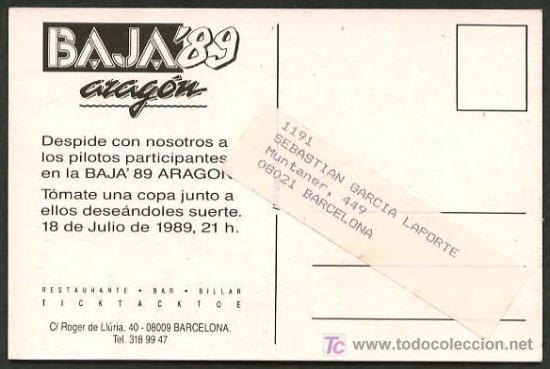 Postales: Barcelona *Fiesta Ticktacktoe, Julio 1989 - Baja´89 Aragón* Circulada. Ver dorso. - Foto 2 - 5202965
