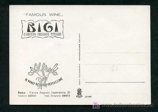 Postales: *Famous Wine Bigi. Restaurant Alfredo, Roma* Nueva. - Foto 2 - 5307618