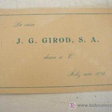 Postales: TARJETA DE LA CASA J. G. GIROD. S.A.- DE 1924. FELIZ AÑO- MIDE 9 X 14 CM.. Lote 20296824