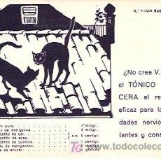 Postales: POSTAL PUBLICITARIA. TÓNICO NERVIOSO CERA. CON DOS GATOS NEGROS.. Lote 18490823