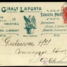 Postales: TARJETA POSTAL DE PUBLICIDAD ANTIGUA DE LA FABRICA DE CRISTAL JUAN GIRALT LAPORTA,1908. Lote 26956012