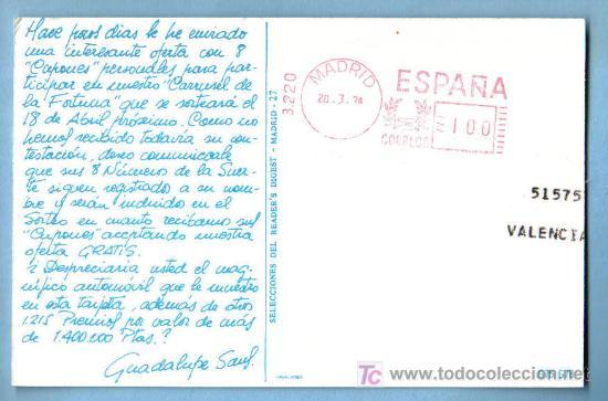 Postales: CARRUSEL DE LA FORTUNA. SELECCIONES DEL READERS DIGEST. CIRCULADA - Foto 2 - 7118903