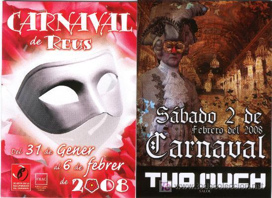 DOS PROGRAMAS DE CARNAVAL DE REUS Y SALOU DEL AÑO 2008 (Postales - Postales Temáticas - Publicitarias)