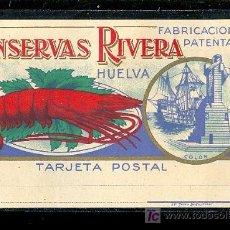 Postales: TARJETA POSTAL PUBLICITARIA. HUELVA, CONSERVAS RIVERA.. Lote 23805990