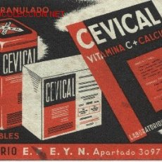 Postales: POSTAL PUBLICITARIA INYECTABLES CEVICAL. Lote 22930224