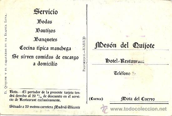 Postales: PUBLICIDAD MESON EL QUIJOTE - MOTA DEL CUERVO - TEMATICA DON QUIJOTE - SIN CIRCULAR - Foto 2 - 25412092