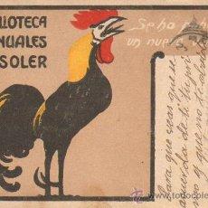 Postales: POSTAL DE PUBLICIDAD. BIBLIOTECA MANUALES SOLER. P-PUB-036. Lote 18385815