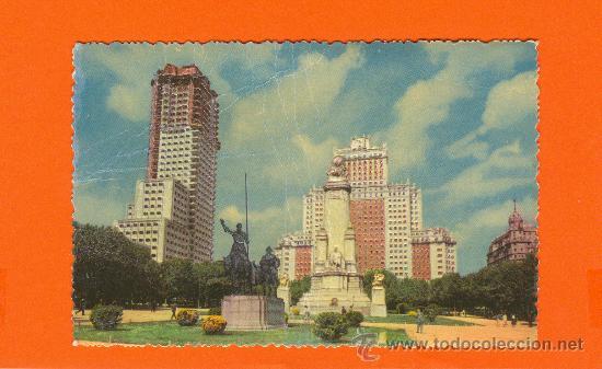 MADRID. MONUMENTO A CERVANTES Y EDIFICIO ESPAÑA. FOTO RELIEVE. A.LLOPIS. PUBLICIDAD AURELIO HIDALGO. (Postales - Postales Temáticas - Publicitarias)