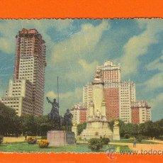 Postales: MADRID. MONUMENTO A CERVANTES Y EDIFICIO ESPAÑA. FOTO RELIEVE. A.LLOPIS. PUBLICIDAD AURELIO HIDALGO.. Lote 26803612