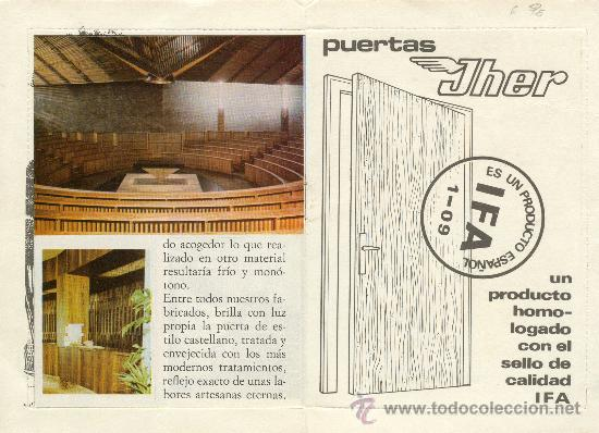 Postales: TARJETAS PUBLICITARIAS DE PUERTAS JHER CON PEQUEÑO BOLETIN INFORMATIVOS DE MADERA ISCAR VALLADOLID - Foto 3 - 27565521
