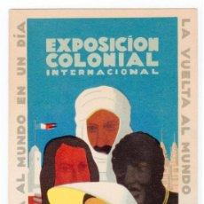 Postales: TARJETA POSTAL PUBLICITARIA EXPOSICION COLONIAL INTERNACIONAL.PARIS 1931.VUELTA AL MUNDO EN UN DIA. Lote 24828465