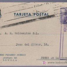 Postales: TARJETA POSTAL DE PUBLICIDAD DE RICARDO PIZARRO AUBRAY. SEVILLA. Lote 13837707