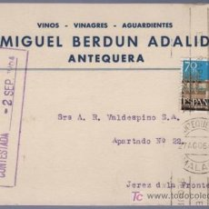 Postales: TARJETA POSTAL DE PUBLICIDAD DE MIGUEL BERDUN ADALID. ANTEQUERA. Lote 13838123