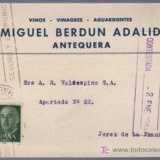 Postales: TARJETA POSTAL DE PUBLICIDAD DE MIGUEL BERDUN ADALID. ANTEQUERA. Lote 13838124