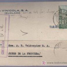 Postales: TARJETA POSTAL DE PUBLICIDAD DE LA VINICOLA S.A. IGUALADA. Lote 13838150