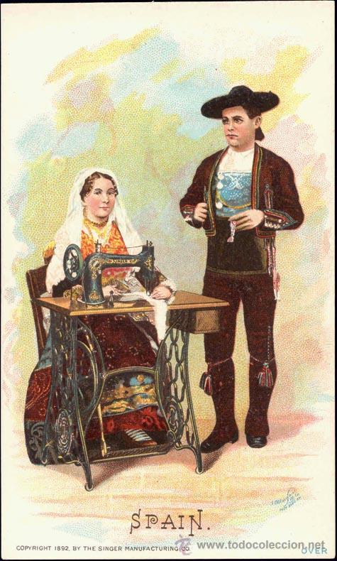 POSTAL PUBLICITARIA. MAQUINA COSER SINGER. COPYRIGHT 1892. SALAMANCA (Postales - Postales Temáticas - Publicitarias)