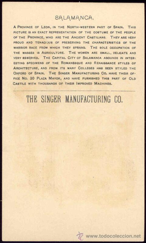 Postales: POSTAL PUBLICITARIA. MAQUINA COSER SINGER. COPYRIGHT 1892. SALAMANCA - Foto 2 - 27548988