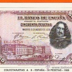 Postales: POSTAL DE BILLETES DEL MUNDO - COLECTARJETAS A 8- ESPAÑA - 50 PESETAS - 1928. PUBLICIDAD A. ADORNA . Lote 15217822