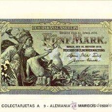 Postales: POSTAL DE BILLETES DEL MUNDO - COLECTARJETAS A 9- ALEMANIA- 5 MARCOS - 1904. PUBLICIDAD A. ADORNA. Lote 15218097