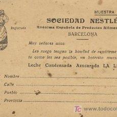 Postales: SOCIEDAD NESTLE LA LECHERA BARCELONA PETICION DE MUESTRA GRATUITA FORMATO POSTAL. Lote 22096158