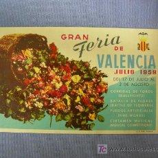 Postales: POSTAL PUBLICITARIA GRAN FERIA DE VALENCIA JULIO 1959, LIT. S. DURÁ. Lote 21489721