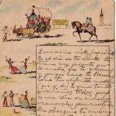 Postales: POSTAL PUBLICITARIA BODEGAS MERITO - JEREZ - ESCRITA Y FECHADA EN 1942 - RARISIMA. Lote 16843130
