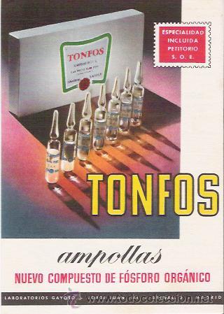 ANTIGUA POSTAL CON PUBLICIDAD FARMACEUTICA, TONFOS AMPOLLAS, LABORATORIOS GAYOSO. (Postales - Postales Temáticas - Publicitarias)