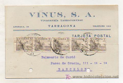 VINUS, S. A. VINAGRERÍA TARRACONENSE (TARRAGONA). 1946. (Postales - Postales Temáticas - Publicitarias)