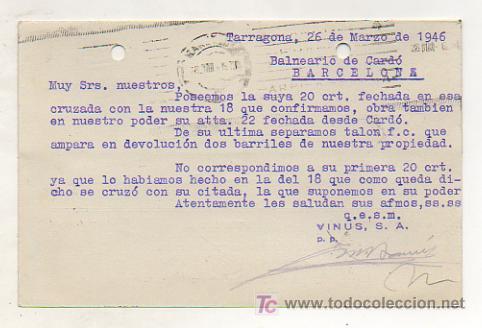 Postales: VINUS, S. A. VINAGRERÍA TARRACONENSE (TARRAGONA). 1946. - Foto 2 - 17607065