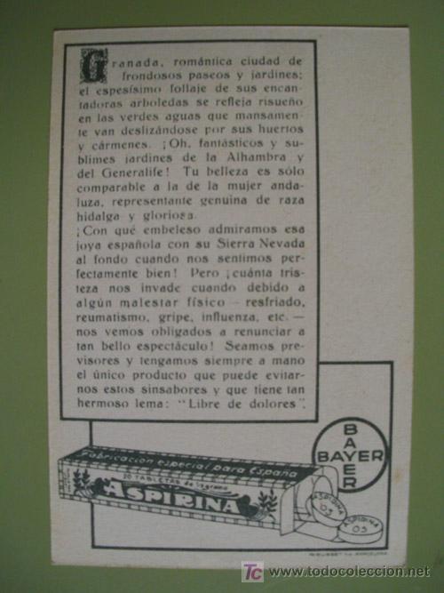 Postales: Postal Antigua Publicidad : Granada - Texto al dorso Aspirina BAYER - Foto 2 - 18758231
